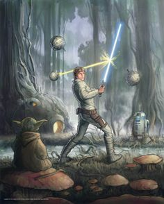 On Dagobah, Luke Skywalker trains against seeker remotes under the stern instructions of Jedi Master Yoda. (Painting by Jeff Carlisle)