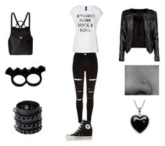 """""""Grunge and rock n roll"""" by ilovemusic2014 ❤ liked on Polyvore featuring River Island, Converse, Dolce&Gabbana, Boohoo, L'Artisan Créateur, Mia Bag and Lord & Taylor"""