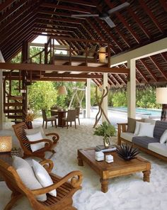 Patio in the sand with loft