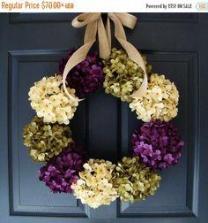 WREATH SALE Hydrangea Wreaths SUMMER Wreath by HomeHearthGarden