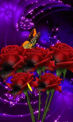 Discover & Share this Animated GIF with everyone you know. GIPHY is how you search, share, discover, and create GIFs. By Artist Unknown. Beautiful Rose Flowers, Beautiful Gif, Beautiful Butterflies, Gif Pictures, Pretty Pictures, Beau Gif, Rose Images, Butterfly Flowers, Purple Flowers