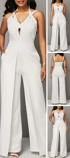 Upgrade your wardrobe and try a new style in this years. Solid White Overlap Open Back Jumpsuit Sexy Dresses, Casual Dresses, Dresses For Work, Elegant Dresses, Dresses Dresses, Summer Dresses, Tight Dresses, Formal Dresses, Chic Outfits