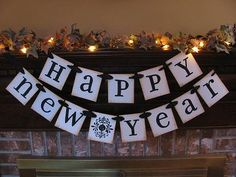 Happy New Year Banner Garland Sign Black and White but Can Custom Colors New Year's Eve Party Decoration on Etsy, New Year Holidays, Holidays And Events, Happy Holidays, Christmas Holidays, Christmas Ideas, Holiday Party Themes, Nye Party, Party Ideas, Holiday Decor