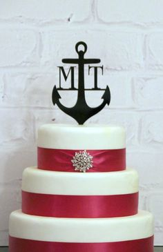 "6"" Custom Anchor Wedding Monogram Cake Topper Personalized with YOUR INITIALS on Etsy, $25.00"