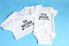 Adorable Sibling Onesies and Tees for Baby and/or Toddler Brothers. The pair of T-Shirts make for the perfect family fashion at events, trips, vacations or gift at baby showers, birthdays or Christmas. This listing is for one pair (2 shirts). 1 Big Brother shirt and 1 Little Brother shirt. The shirts are available in US Baby sizes (Newborn to 18 months) and Toddler US sizes 2T/3T, 4T and 5T Boys. Tee is made of 100% cotton, white and finished with Black heat transfer vinyl. If you w...