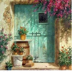 Best ideas for exterior entrance doors paint colors Old Doors, Belle Photo, Painting Inspiration, Watercolor Paintings, Watercolour, Artsy, Windows, Drawings, Illustration