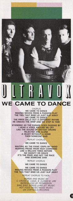ULTRAVOX - We Came To Dance, 1983