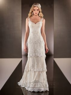 Straps Dramatic V-neck Lace Over Wedding Dresses with Layered Scalloped Skirt - LightIndreaming.com