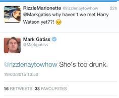 We still need to meet. OH PLEASE GATISS LET HER COME TO SHERLOCK WHILE SHE IS DRUNK PLEASE