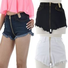 ebclo - VIBRANT Exposed Gold Zipper Cutoffs   $38.00 Free Domestic Shipping
