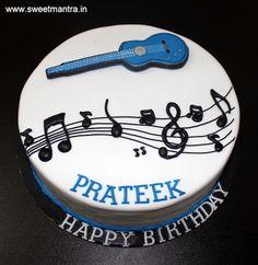 Basic Guitar, Music theme small customized designer fondant cake with musical notes for husband's birthday at Hinjewadi, Pune