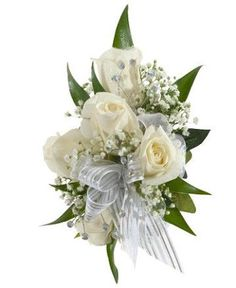 Bridesmaids Corsage- omit greenery and keep baby's breath but add a tiny bling and very thin white and black ribbon.