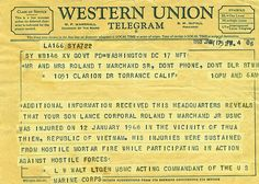 Western Union telegram, Vietnam war a letter you did not want to get. North Vietnam, Vietnam Veterans, Vietnam War, American War, American History, Killed In Action, Band Of Brothers, Mystery Of History, Western Union