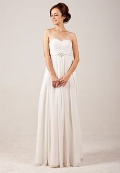 Elegant Sweetheart Empire Flowing Wedding Dress with Beadings
