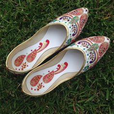 Final price Gorgeous pretty shoes from India Beautiful authentic shoes from India in white . Would go with most of your dresses with the color combination . Would best fit size 10-10.5 . Ask me any Q u have before purchasing . These shoes are from India and do stretch after couple uses. Shoes Flats & Loafers