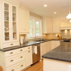 White cabinets with gray countertops