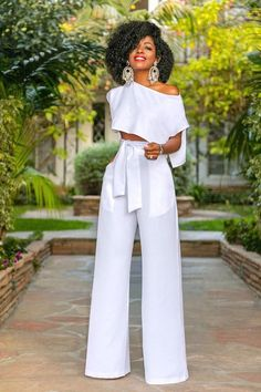 All White 2 Piece Outfit Idea work it ma 2 piece wide leg trouser and cropped blouse set All White 2 Piece Outfit. Here is All White 2 Piece Outfit Idea for you. All White 2 Piece Outfit work it ma 2 piece wide leg trouser and cropped blou. Style Pantry, Long Jumpsuits, 2 Piece Outfits, Crop Blouse, White Fashion, Classy Outfits, Wide Leg Pants, Wide Legs, Dress To Impress