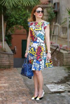 Love Moschino comics dress, Moschino sunglasses, Balenciaga city blue, Fashion and Cookies, fashion blogger