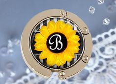 Personalized Folding Purse Hanger  Sunflower by NowThatsCharming