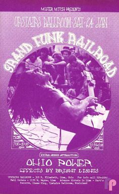 Classic Poster - Grand Funk Railroad at Upstairs Ballroom Lima, OH 1/24/70 by Unknown