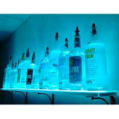 Wall mounted LED liquor bottle shelf