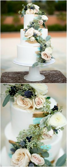 Wedding cake, floral cascade, turquoise and gold paint // Heather Nicholson Photography
