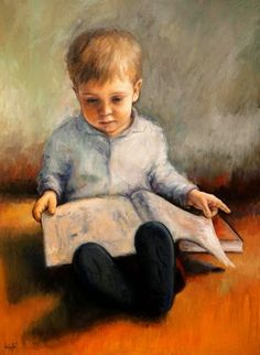 Niño Leyendo by Lucie Geffré born 1976 in Bordeaux, France living in Madrid, Spain Kids Reading Books, Reading Art, I Love Books, Good Books, My Books, Book People, Lectures, Bedtime Stories, Book Lovers