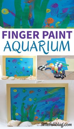 This fun finger paint aquarium activity is super creative and fun - great for stimulating little imaginations. Fill your aquarium with ocean animals and make an easy home made frame to put it in. You can make this art project into a sweet keepsake, card or gift. #kidsactivities #kidsart #oceanactivities #seacreatures #aquariumactivities