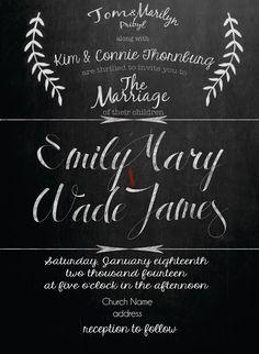 lauraslight.blogspot.com Chalk Board wedding invitations #calligraphy
