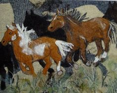 "Wow what a beautiful needle felted horses running "" painting"" on the CoyoteRimStudio shop on Etsy."