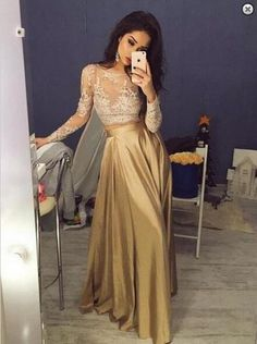 Elegant Long Sleeves Crew Stain Prom Dress, Evening Dress, Gold Prom Dress, Sexy A-line Prom Dress,Two Piece Prom Dresses