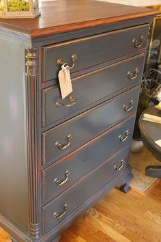 Gorgeous bureau redo by Restoration House Interiors. Love the gray.