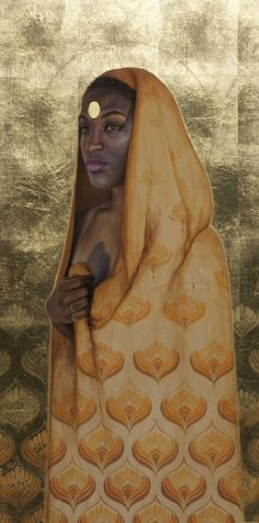 'A place in the sun' By Sara Golish www.saragolish.com #portrait #painting #gold #70s #pattern