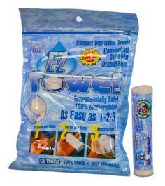 EZ Towel with New Durable Tube and Packaging, 50 Pieces EZ-Towel,http://www.amazon.com/dp/B005JWQY40/ref=cm_sw_r_pi_dp_U7MGtb10Q93C6J3Z