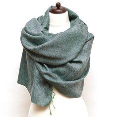 Duży szal jedwab z bawełną zielony tkany ręcznie - Nikamony - Szale jedwabne