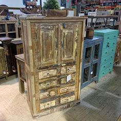 Panel Wood Storage Cabinet.  Item 510922.  Measures: 33x16x58  Priced at $499 - #reclaimed #rustic #rusticdecor #rusticfurniture #reclaimedfurniture #armoire #cabinet #storage