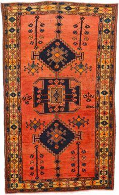 Red 4' 9 x 7' 9 Hamedan Rug | Persian Rugs | eSaleRugs