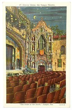 Tampa Florida Interior Scene Theatre Hillsboro Teich Pride of the South Postcard
