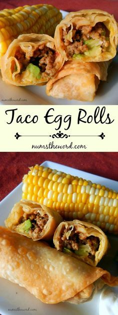 Main Dishes Taco Egg Rolls - If Food & Recipes Taco Egg Rolls - If you love Tacos try these easy Taco Egg Rolls. A taco rolled up into an egg roll and fried. Mexican Dishes, Mexican Food Recipes, Beef Recipes, Cooking Recipes, Cooking Kale, Cooking Steak, Easy Recipes, Taco Egg Rolls, Vegan Egg Rolls