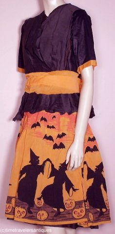 Dancing Witches - RARE c1930's Crepe Paper Halloween Costume Dress   eBay