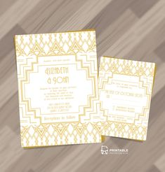 Gatsby Inspired Art Deco Invitation and RSVP Set. For customizations, printableinvitationkits[at]gmail[dot]com