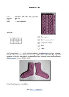 Pinja-sukat naisen villasukat pitsisukat nalle Knitting Stitches, Knitting Socks, Knitting Patterns, Yarn Colors, One Color, Google Drive, Knitwear, Knit Crochet, Handmade