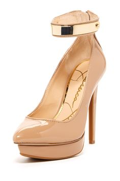 Nude Metal Ankle Pumps