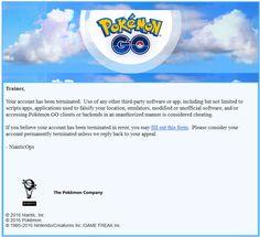 Niantic Labs hat begonnen Spieler zu bannen, welche Drittsoftware oder Softwareauszüge in Pokémon Go verwenden. So sieht die Ban-Mail von Niantic aus!  https://gamezine.de/pokemon-go-diese-mail-wird-versandt-wenn-du-gebannt-wurdest.html