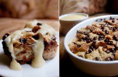 chocolate chip bread pudding with vanilla sauce