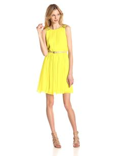 Chiffon Pleated Dress with Lattice Shoulder Detail by Jessica Simpson