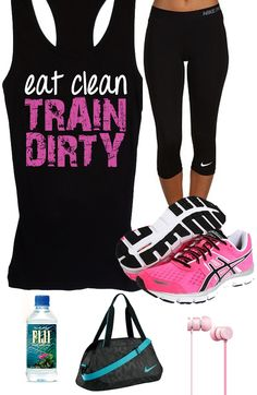 It takes dedication to look this good, your #Workout clothes should look good too! Cool #GymGear featuring a Eat Clean TRAIN DIRTY  Gym Tank Top by #NobullWomanApparel on Etsy, $24.99. Click here to buy https://www.etsy.com/listing/153138744/eat-clean-train-dirty-workout-tank?ref=shop_home_active_16