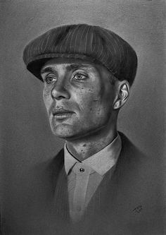 My charcoal drawing of Cillian Murphy as Tommy Shelby from Peaky Blinders. Realistic Pencil Drawings, Dark Art Drawings, Pencil Art Drawings, Art Drawings Sketches, Charcoal Drawings, Peaky Blinders Poster, Peaky Blinders Wallpaper, Cillian Murphy Peaky Blinders, Peaky Blinders Merchandise