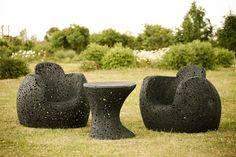 """""""Basalt is of volcanic origin, in a certain way that animates every object created from it"""" - says Raymond Cīrulis of furniture Maffam. Furniture entirely made by hand, so it is impossible to find two identical objects. Basalt - is extremely durable material, which is why Raymond believes that the furniture will last easily 20-30, and even longer years.  In the photo - garden furniture Maffam Purchase this unique furniture please visit  http://maffam.us"""