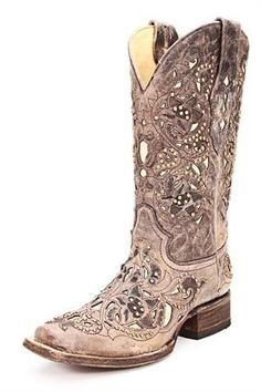 Corral Ladies Boots Distressed Brown with Bone Inlays and Brass Stud Accents! AHHH, I need these boots! If I were to get a pair of cowboy boots these would the ones. LOVE THESE BOOTS Stilettos, Pumps, Heels, Cowgirl Style, Cowgirl Boots, Cowboy Girl, Vintage Cowgirl, Vintage Boots, Western Wear